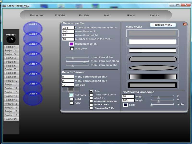 CellSoftNet Menu Maker - menus,tools,swf,graphics,webpage,XML,editor,3D,transparent - Create impressive Flash menus.